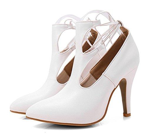 Spitz Sexy Damen Sandale Schnürung Zehen Kunstleder Stiletto Out Cut Aisun Weiß Geschlossen qta5Wwnxd