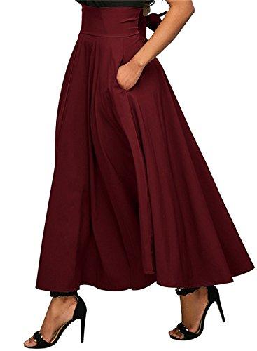 et Haute Taille Taille Fourche Jupe OMUUTR Retro Multi Buste Couleur Latrale Vin Nouvelle Ouverte de en Rouge Jupe Plisse Sangle t M Femmes Automne Option AYY6qw50