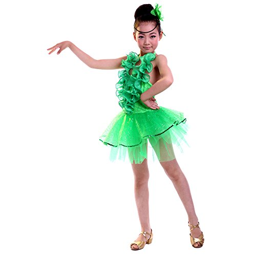 XFentech Girls Fashion Net Yarn Latin Dance Costumes Childrens Ballet Sleeveless Clothes Ballroom Tango Performance Dress, Green, UK S=Tag M(110-120cm/Suitable (Tango Ballet Costume)