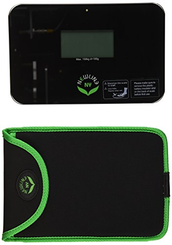 NewlineNY Step-on Super Mini Smallest Travel Bathroom Scale with Protection Sleeve: SBB0638SM-BK (Black) + NY-SMS-S001-BG