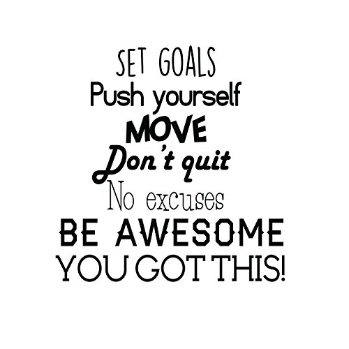 Set Goals, Push Yourself, Dont Quit - Inspirational Quotes Wall Art Vinyl Decal - 24 x 23 Gym Quotes Decoration Vinyl Sticker - Motivational Wall Art Decal - Life Quotes Vinyl Sticker Wall Decor