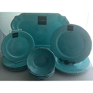 13-Piece Il Mulino Antiqued Turquoise Blue Antiqued Melamine Dinner Plates Salad Plates  sc 1 st  GoSale.com & il mulino melamine plates | Compare Prices on GoSale.com