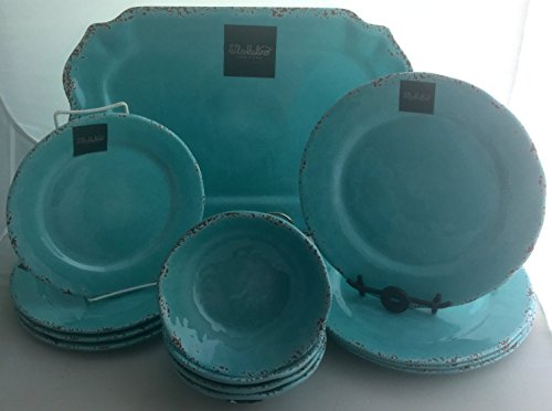 13-Piece Il Mulino Antiqued Turquoise Blue Antiqued Melamine Dinner Plates, Salad Plates, All Purpose Bowls and Platter Dining Set, Service for Four