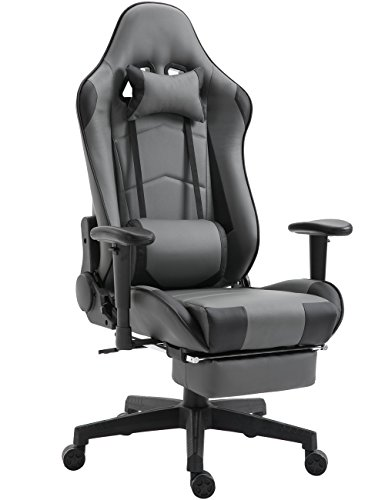SHIONOOM Gaming Chair High Back Ergonomic Racing Chair with Footrest Adjustable Height Swivel Office Chair with Headrest Lumbar Support (Grey/Black)