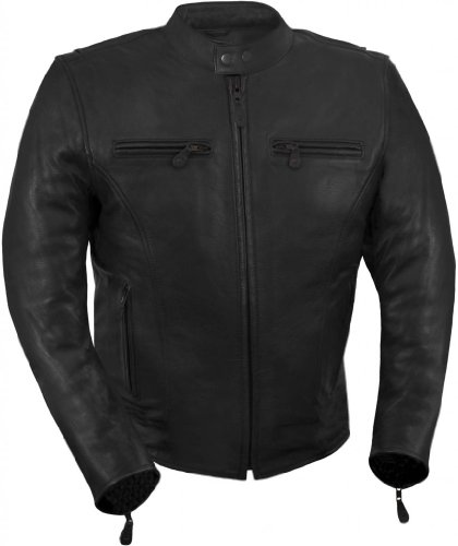 Vented Touring Jacket (True Element Mens Light Weight, Vented Scooter Collar Leather Motorcycle Jacket (Black, Large))