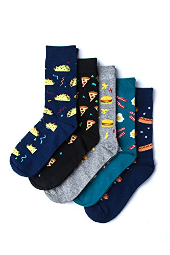 Fast Food 5 Pair Gift Set Variety Pack Multicolor Carded Cotton Novelty Crew Dress Socks, Shoe Size: 7-13 from Sock Genius