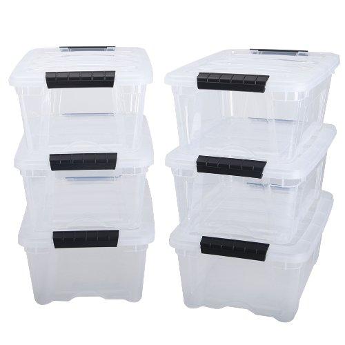 IRIS 12 Quart Stack  Pull Box, 6 Pack