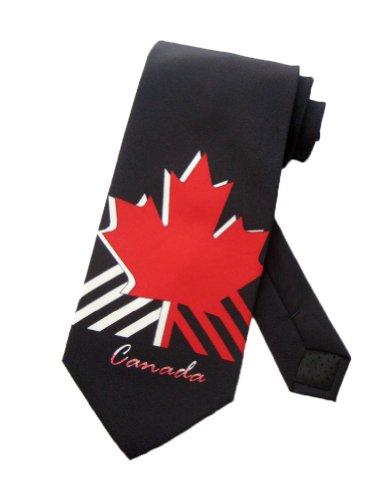 Parquet Canada Flag Maple Leaf Necktie - Navy Blue - One Size Neck Tie