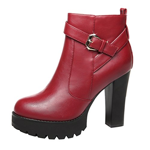 Christmas T&Mates Womens Warm Comfy Faux Fur Round Toe Zip Buckle Strap Platform Chunky High Heel Ankle Booties (5 (Girls Red Sequin Shoe Covers)
