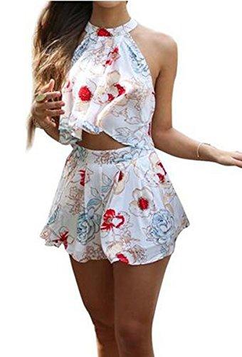 SHFZ Women's 2 Piece Floral Print Crop Tops Short Set Jumpsuit Romper Playsuit (Small)