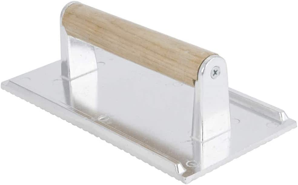 """8"""" x 4"""" Aluminum Steak Weight & Bacon Press with Wooden Handle, Griddle Grill Press, 4 1/8"""" x 8 1/4"""", Commercial Quality Burger Weight"""