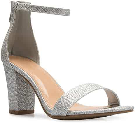 2d0ad1bce OLIVIA K Women's Sexy Dress Shoes - Open Toe Glitter Rhinestone Block Heel  Sandals - Buckle