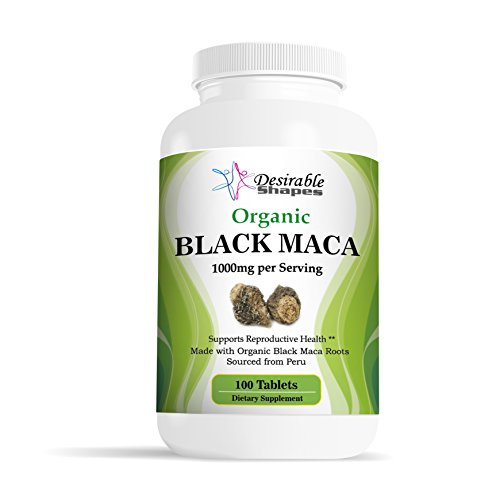 Desirable Shapes Organic Peru black maca root tablets 1000 milligram per serving dietary supplement,100 tablets per bottle, natural NON-GMO vegan formula made in USA