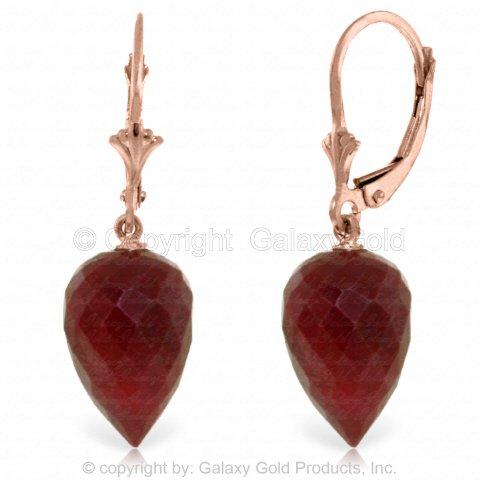 14k Rose Gold Leverback Earrings with Drop Briolette (Briolette 14k Gold Earrings)