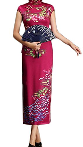 Coolred-femmes Imprimé Floral Manches Courtes Debout Robe De Bal Col Chinois 5