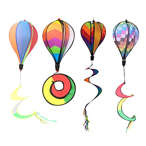 (D DOLITY 4Pcs Hot Air Balloons Windsocks Spiral Windmills Air Sock Garden Lanw Outdoor Decor Whirligig Toy 55 '')