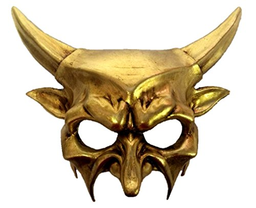 KBW Global Corp Gold Horned Devil Party Half Mask Adult Mens Venetian Demon Costume Accessory