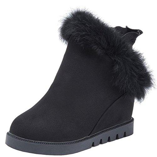 Inner Zip Flat Boots increaser Mashiaoyi Black Fur Snow Women's T6xwqBv