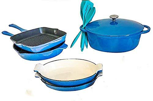 enamel cast iron blue cookware