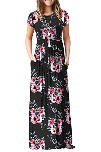 Women's Casual Short Sleeve Long Maxi Tunic Dresses Black Flower XX-Large