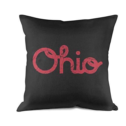 YUIUYID USA Ohio State Sofa Cushion Pillowcases Square Cushion Covers Simple Pillow 18x18 Inch ()