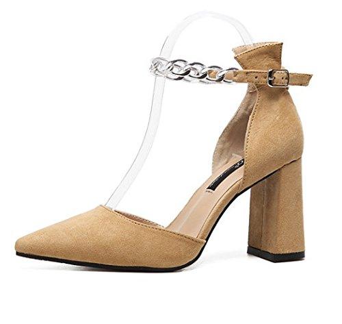 Hebilla Luz De Grueso Chica Heel Eu40 De Correa Mujer High La EU38 SHOESHAOGE Con Ranurada Sandalias La Satinado A Zapatos Punta Eqx4vPZ