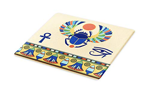 Ambesonne Egyptian Cutting Board, Antique Historical Culture of Scarab Eye with Ornaments Print, Decorative Tempered Glass Cutting and Serving Board, Large Size, Cream Navy (Best Inexpensive Eye Cream)
