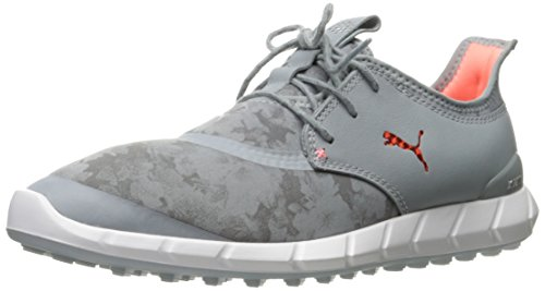 PUMA Golf Women's Ignite Spikeless Sport Floral Golf Shoe, Quarry/Nrgy Peach/Quiet Shade, 7 M US (Women Golf Shoes 7 Spikeless)