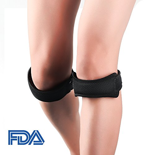 2 Pack Silicone Patella Knee Straps,with Anti-Slip Lining & Breathable Holes, Fully Adjustable Brace/Band for Pain Relief, Running, Jumpers Knee, Hiking, Basketball, Volleyball, Tendonitis, Arthritis by IPOW