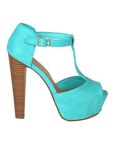 Breckelles CK89 Women Leatherette Peep Toe T-Strap Platform Chunky Heel Sandal - Aqua (Size: 7.5)