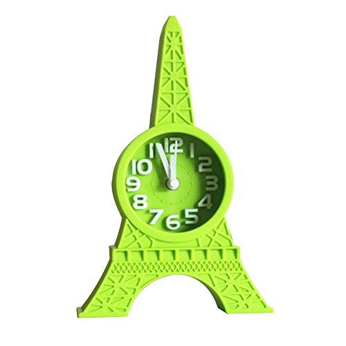 dxS8hhuo Fashion Eiffel Tower Tabletop Alarm Standing Clock Home Office Decoration Gift Table Desktop Digital Decent Alarm Clock LED Display and Dimmer Adjustable Sounds Bedside Alarm Clocks Green