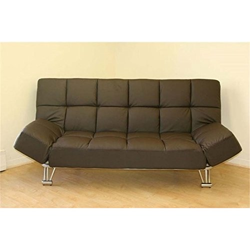 Bowery Hill Faux Leather Convertible Sofa in Chocolate