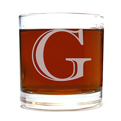 Etched Monogram 10.5oz Rocks Old Fashioned Lowball Glass for Whiskey Scotch Bourbon (Letter G)
