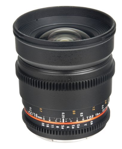 Bower SLY16VDN Wide Angle High-Speed 16mm T/2.2 Cine Lens for Nikon Video DSLRs (Black)