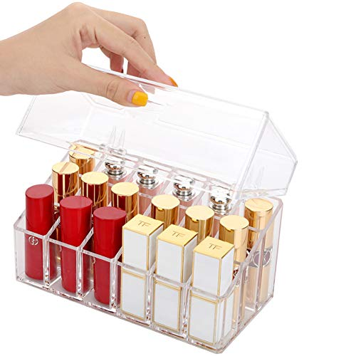 Sooyee 18 Compartments Clear Acrylic Lipstick and Lip Gloss Organizer with Lid