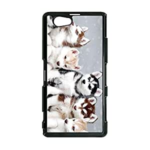 Hipster Kawaii Pet Dog Siberian Husky Phone Case Solid Cover for Sony Xperia Z1 Compact / Z1 Mini Popular Design
