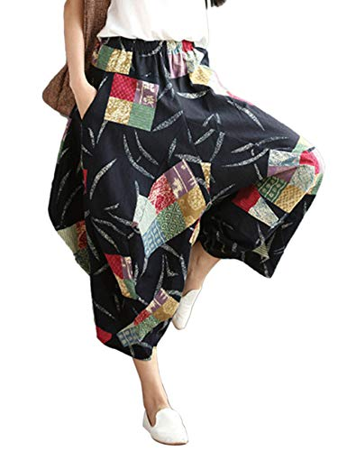 Zhhlinyuan Cintura Lino Pantalones Linterna Pantalón Algodón Confortable Harén Pantalones Unisexo Trouser Verano Suelto Negro 3 Holgado Elástica pxqrpvw0z