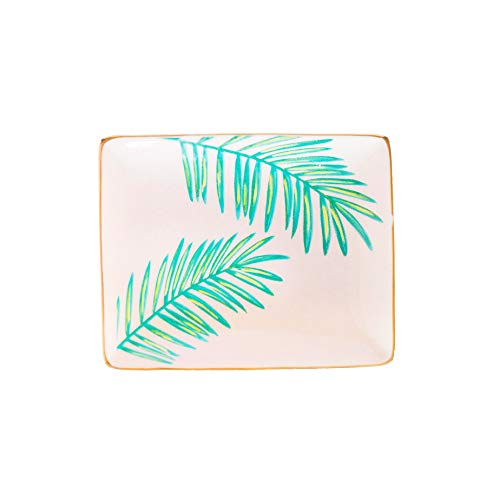Palms Tropical Ring Tray Trinket Dish Small Gold Ceramic Ring Trinket Tray Gift for Her Desk Storage Jewelry Dish Home Decor Accents Accessories Gold Office Summer Decor Hand Drawn