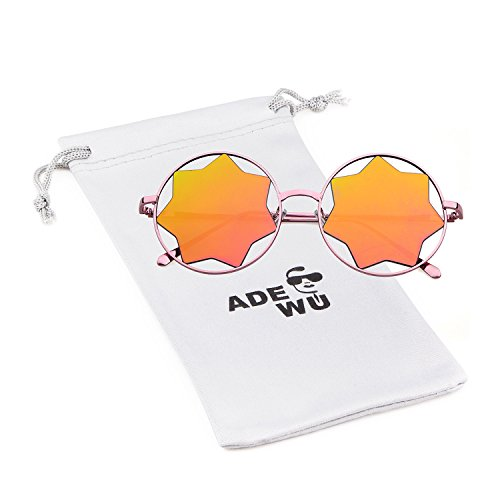 Mod Star - Vintage Round Clear Mirror Sun Glasses Metal Frame Star Shape Rimless Sunglasses