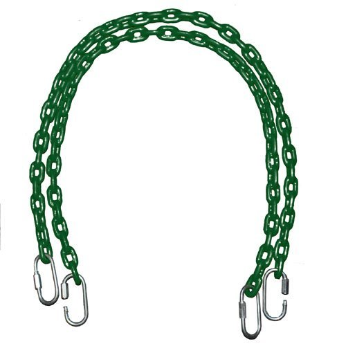 Fully Coated Chain 66 Inch Long + 4 Free Quick Links on Both Sides in Green Waterproof Chain Swingset Seat, Baby Swing, Toddler Swing, Trapeze Bar Playground Equipment Chain, Jungle Gym 2 (1 Pair) (Free Priority Shipping in Continental Usa) Playkids