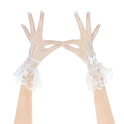 RARITY-US Women's Sexy Floral Bow Lace Short Gloves Elegant Stretch Net Yarn Bridal Wedding Party Fancy Costumes,White