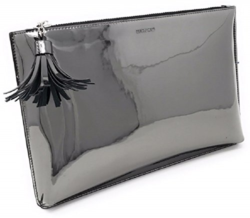 BG-707-72306 Clutch Purse Metallic Mirror Tassel Evening Bag - Gun Metal/Black
