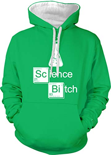 Amdesco Men's Science Bitch Flask Two Tone Hoodie, Kelly/White 2XL ()