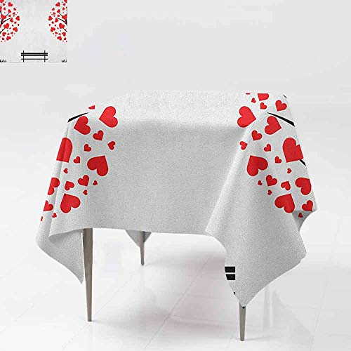 AndyTours Tablecloth for Kids/Childrens,Tree of Life,Trees with Hearth Shaped Leaves and Bench Love Valentines Romance Design,Great for Buffet Table, Parties& More,60x60 Inch Black Red White