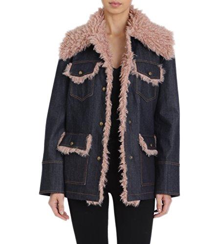 Avec Les Filles Women's Denim Trucker Jacket with Mongolian Faux Fur Details, Medium (With Lining Jean Jacket Fur)