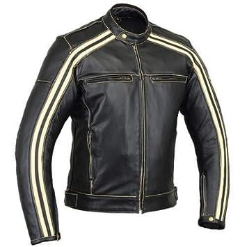 Australian Bikers Gear Retro Style The Bonnie - Chaqueta de moto, Negro / Blanco, S