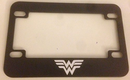 '' W '' Wonder Woman Style - Black Motorcycle / Scooter License Plate Frame - Super Mom Super Girl Super Woman