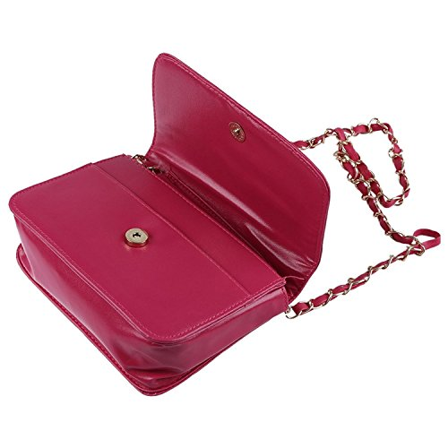TOOGOO(R) Borse di cuoio delle donne del sacchetto di spalla delle borse del messaggero delle donne bianca rosso rosa