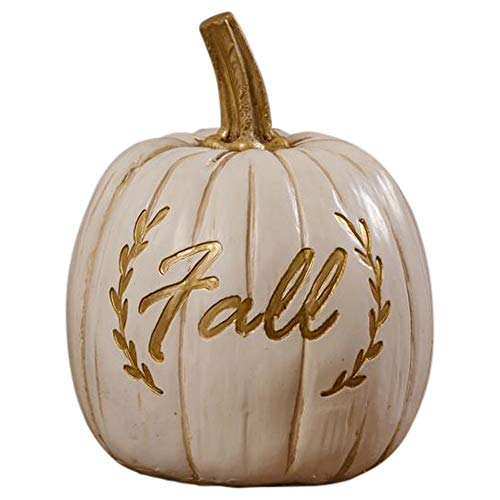 Your Heart's Delight Fall Laurel Embossed Goldtone White 4 x 5 Inch Polyresin Pumpkin Figurine -