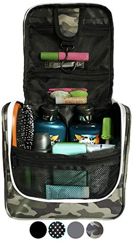 WAYFARER SUPPLY Hanging Toiletry Bag: Pack-it-flat Travel Kit, Camouflage